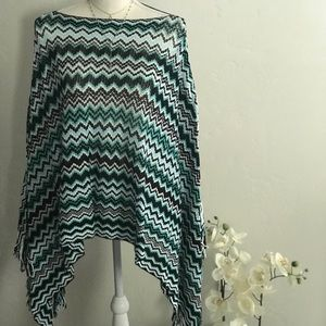 Missoni Chevron Fringed Knit Poncho
